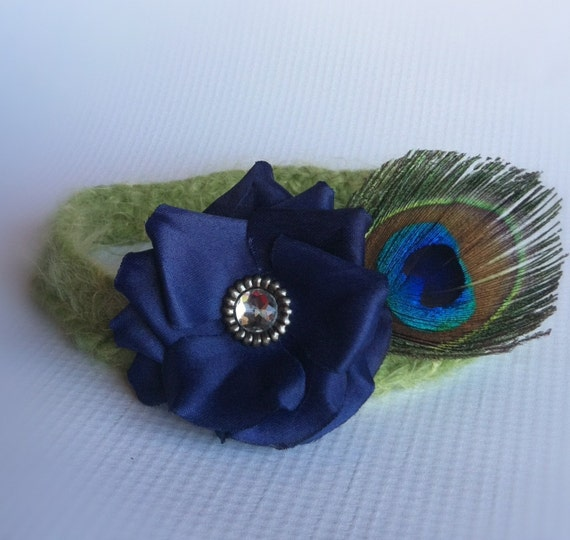 deep blue with peacock feather newborn crochet baby halo headband, soft green band, sparkly gem center, photo prop