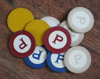 Set of Ten Vintage Poker Chips Labeled with the Letter P