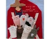 Complete Set of 11 Handmade Farm Finger Felt Puppets