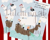 Printable Pirate Party Invitation and Thank You Card- customizable for birthdays and other events - PDF