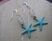 Patina Starfish Earrings Crystal sparkle beads nautical beach resort beach wedding