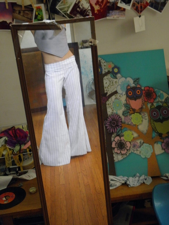 White Low Rise Hip Hugger Bell Bottoms With Black  Gold-8953