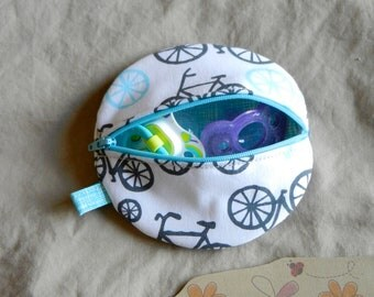 Paci Pod in Michael Miller Fabric Bicycles Timeless Treasures Fabric Crosshatch Baby Boy Paci Pod Ready to Ship