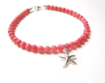 Starfish Bracelet, Coral Gemstone Bracelets, Pink Coral Bracelet, Gifts For Teenagers, Beach Jewelry