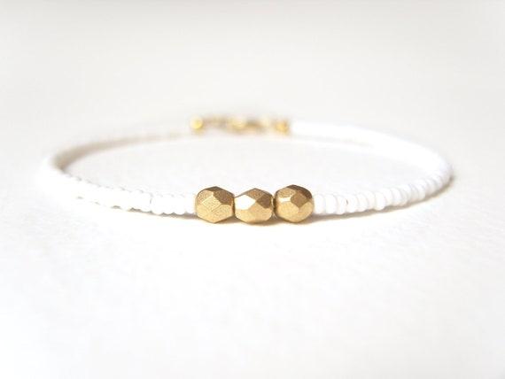Beaded Friendship Bracelet, Dainty Bracelet, White and Gold Nugget Bracelet, Fashion Jewelry
