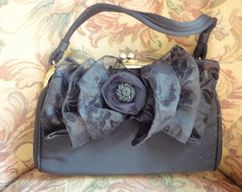 Black Moire Vintage Handbag, Flower Decorated, Black Handbag, Restyled Purse, Elegant Handbag, Handled Purse, Evening Pocketbook