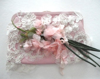 SALE Pink Clutch Purse, Lace and Pink Flower Decorated Clutch Purse, Wedding Purse, Pink Leather Small Bag, Brides Purse, Ultra Feminine
