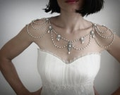 Necklace For The Shoulders,Backdrop Necklace,1920,Pearls,Rhinestone,Silver,OOAK Bridal Wedding Jewelry,Victorian,Made By Efrat Davidsohn