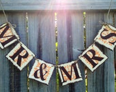 Mr & Mrs Banner Ivory, Brown and Orange: Sweetheart Talbe, Wedding, Bridal Shower, Photo Prop, Reception (can customize colors)