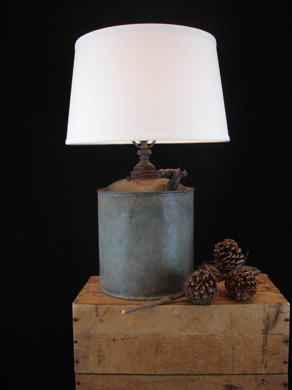 Upcycled Vintage Kerosene Can Lamp with Shade