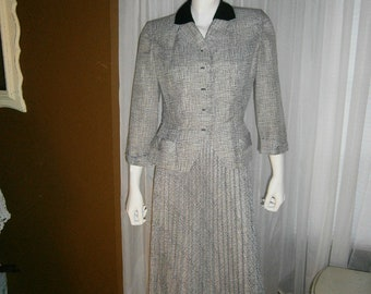 On Sale/1950's Black and Gray Women Suit by GLENHAVEN