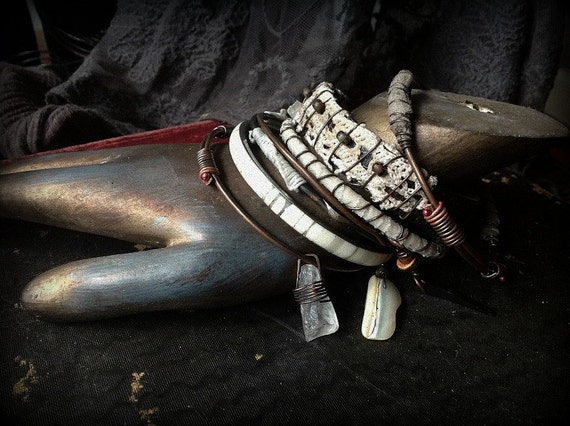 Bangle stack - hunter gatherer I in tribal bone, quartz, leather and lace