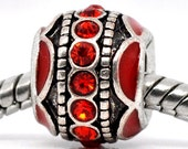 SALE 3 Rhinestone Beads - Antique Silver and Red - Fits European Bracelets - 12x9mm - Ships IMMEDIATELY  from California - B206
