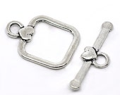 40 Silver Clasps - Toggles - WHOLESALE - Hearts - 24x18mm - Ships IMMEDIATELY from California - FC32a