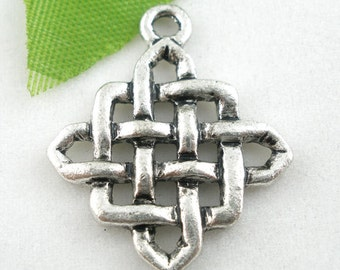 Chinese Knot Charms Silver 25x21mm 3pcs - Ships Immediately from California - SC235