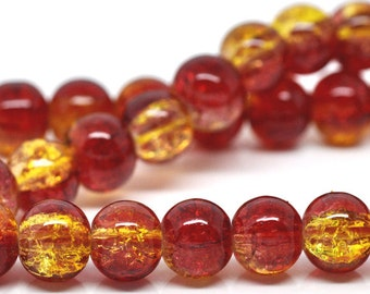 105 Crackle Beads - Red & Yellow - 8mm - 1 Strand - Ships IMMEDIATELY  from California - B227