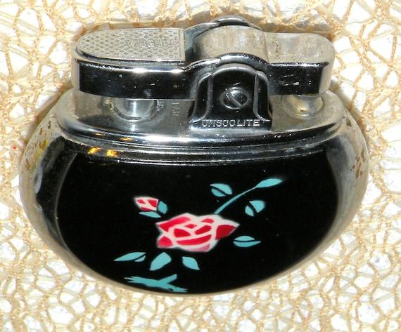 Vintage Lighter Omscolite Black Enamel Rose Motif Lighter