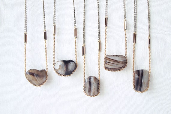One of a Kind Statement Necklace : Autumn Fashion - Raw Agate Necklace Hung on Vintage Chain