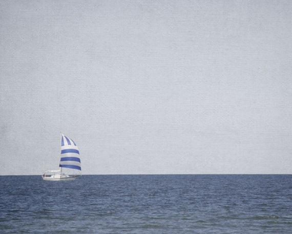 Boat Photograph, Gray Photography, Nautical Picture, Sailboat Wall Art, Modern Lake Home Decor, Blue Artwork