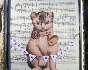 Vintage Cat Victorian Cat Print Collage Handmade Altered Art Cat Silver Shabby Vintage Home Decor Victorian Die Cut Cat
