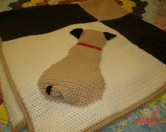 Cutest Crocheted Pug Blanket  Made to Order