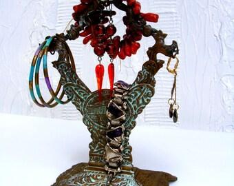 Unique Vintage Greek Revival Brass Jewelry Tree