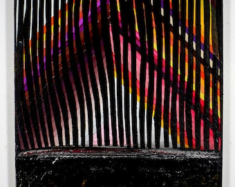 12x16 Geometric Abstract Painting,  Pink, Orange & Black on Panel NY1138