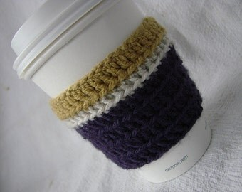 UW Husky Themed Coffee Cozy Gold Purple White University of Washington Huskies