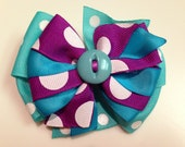 Purple & Turquoise Teal with Polka Dot Print Button Detail Stacked Boutique Style Ribbon Bow Handmade for PETS Dog Collar Accessory