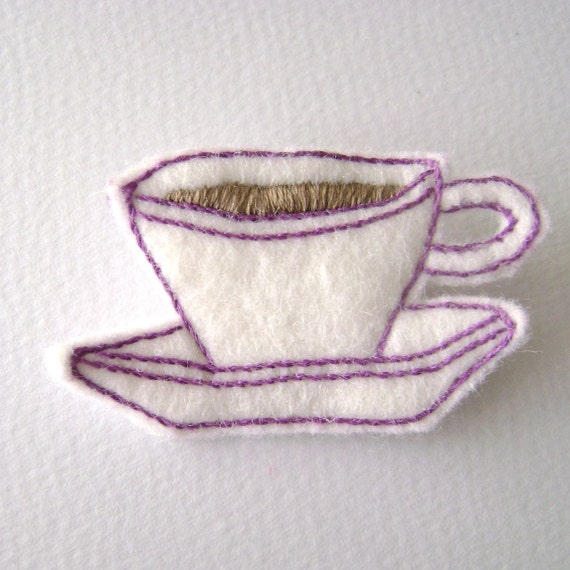 Tea Cup and Saucer Felt Brooch White With Purple Stitching