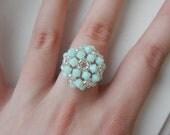 SALE buy TWO get one FREE Mint Alabaster Swarovski Beaded Ring