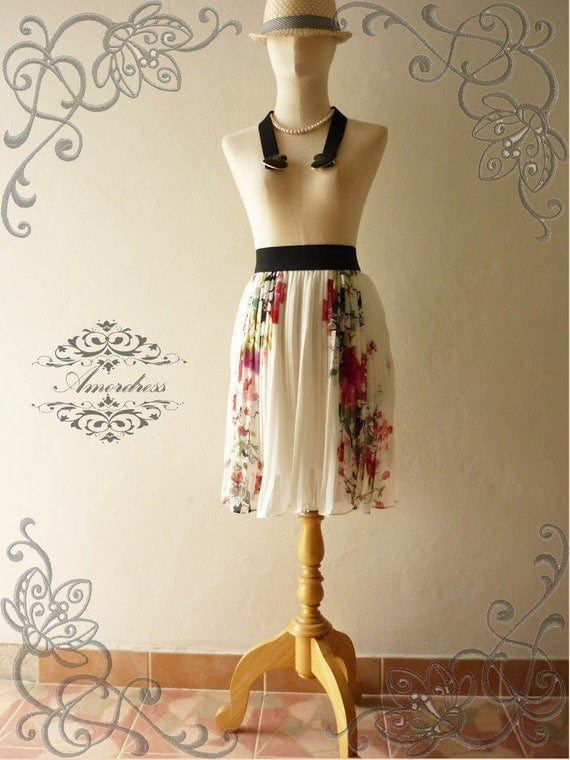 Vintage Inspired Playful Pleated with Charming Oriental Flower Skirt Mix and Match