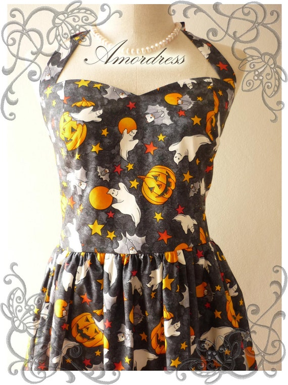Halloween Party Dress...Trick or Treat ...LIMITED Amor Vintage Inspired Charcoal Black Pumpkin Ghost Star Party  Dress -  Size S-M-