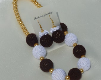 Instant Download Crochet PDF Pattern - Jewelry Set CAPUCCINO