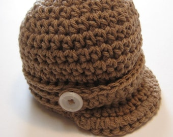 Crochet newsboy hat.  Infant brown newsboy hat.  Made to order.  Photo prop.  Baby shower gift.