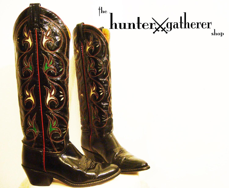 vintage 1970s western cowboy boots black patent leather