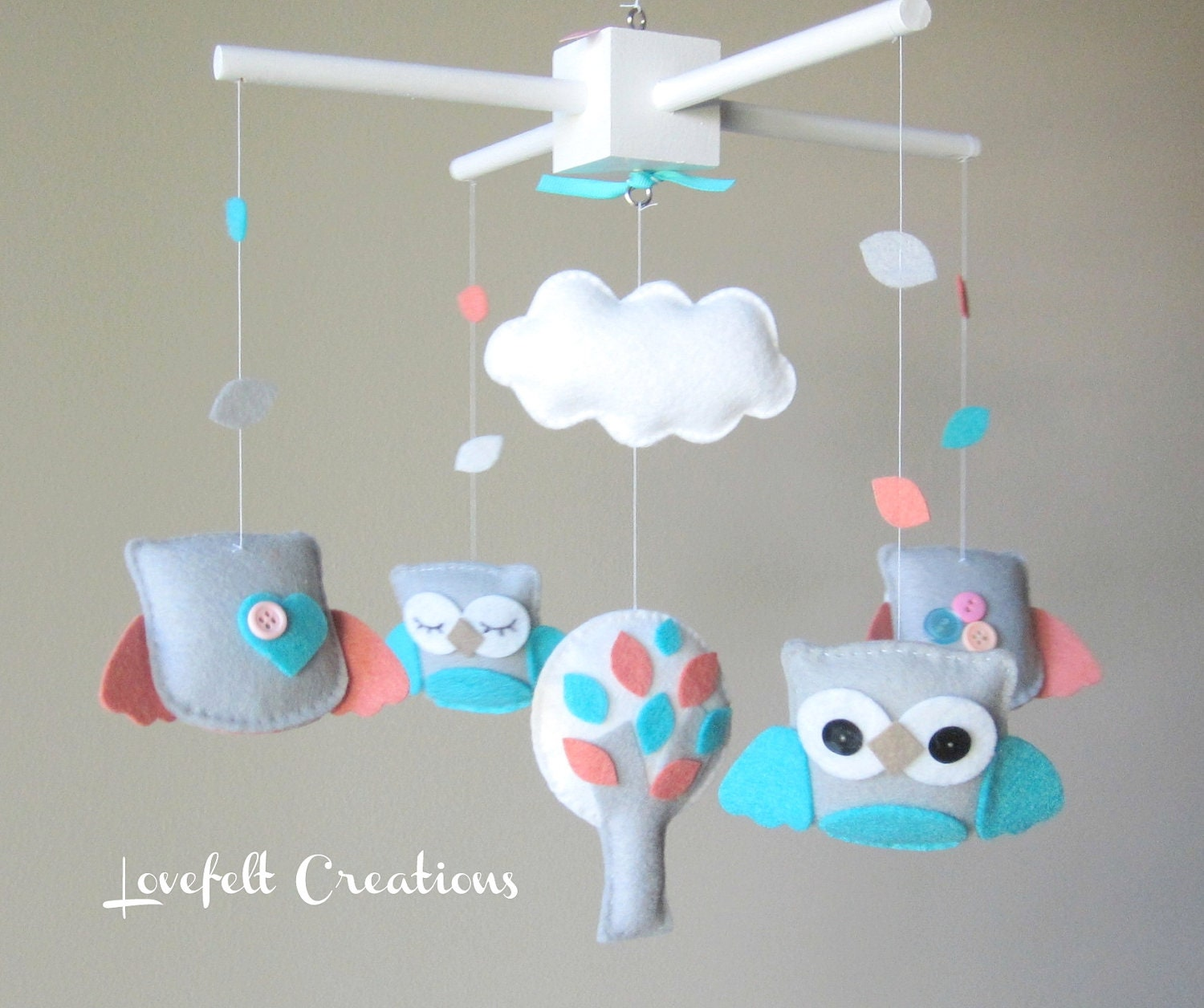 baby crib mobile baby mobile owl mobile turquoise coral. Black Bedroom Furniture Sets. Home Design Ideas