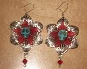 Red Turquoise Silver Floral Skull Earrings with Lucite, Howlite, and Filigree Day of the Dead Gothic Jewelry
