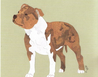 Staffordshire Bull Terrier handmade original cut paper collage dog art all colors available