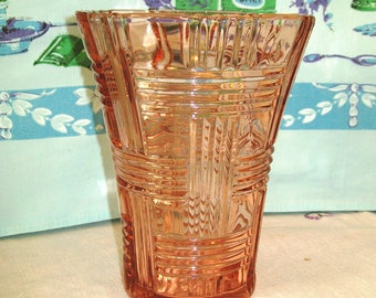 Unusual Vintage Large Pink Glass Vase, Criss Cross Vase, Hazel Atlas