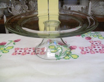 Pedestal Cake Plate, Clear Glass