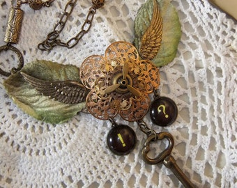 Steampunk 3 Color Filigree with Propeller, Wings, Key, Typewriter Key Charms and Millinery Leaves