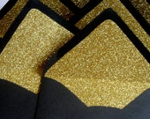 Black and Gold Glitter Lined Envelopes