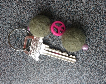 Keyring with needle felted balls and pink vintage looking peace sign gift under 10 dollars eco friendly