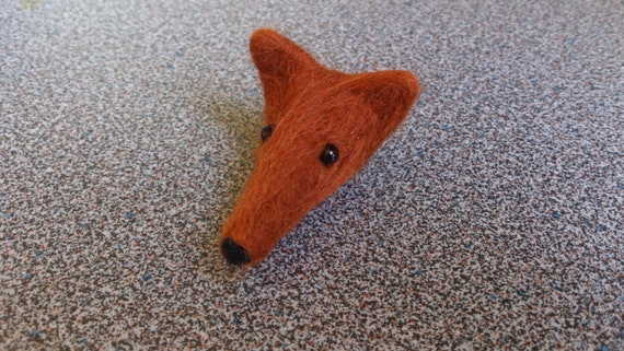 Needle felted fox head made as a fridge magnet gift under 10 dollars stocking stuffers