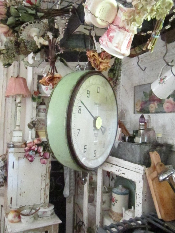 Chantillon Vintage hanging metal mint green farm scale prairie cottage chic shabby chic