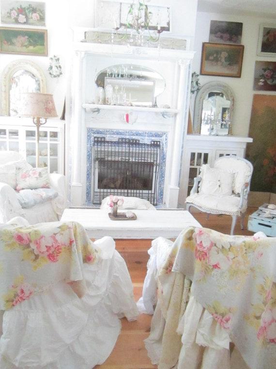 Vintage french farm  white coffee table