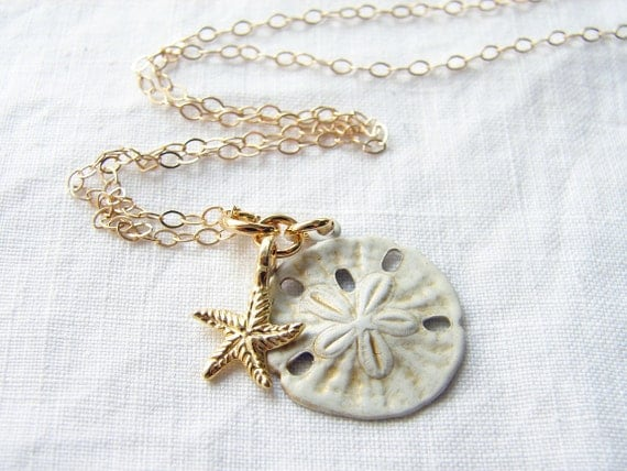Vintage White Sand Dollar with a 22K Vermeil Starfish Necklace. Shabby Chic