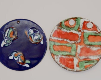 2 Vintage Ceramic Pendants