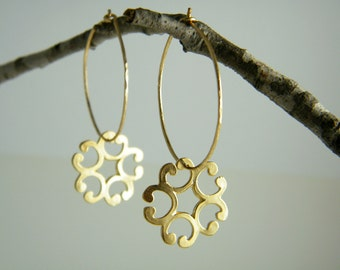 Gold filled hoop earrings flower ornament earrings